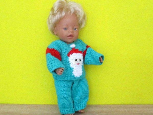 Häkelanleitung- weihnachtlicher Puppenpullover für Puppe 43 cm
