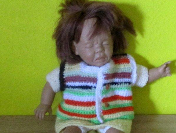 Häkelanleitung- Weste aus Wollreste für Puppe 38 cm