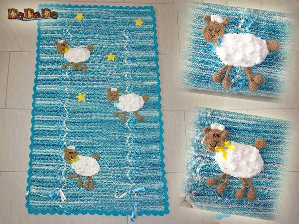 Schöne Baby Decke Mit Schäfchen Gestrickt Und Gehäkelt Von Dadade