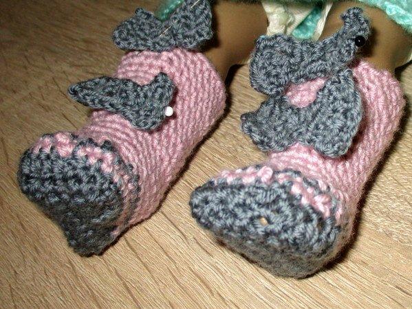 Häkelanleitung- Stiefel mit Schleifen für Füße 5 cm lang