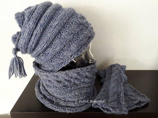 Mütze stricken // Loop / Stulpen / Zopfmuster