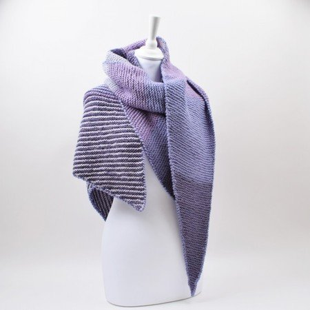 Asymmetric shawl with stripes