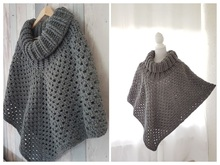 Crochet pattern poncho with cowl