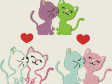Stickdatei Stickmuster Katze Katzen in Love Applikation Set 191
