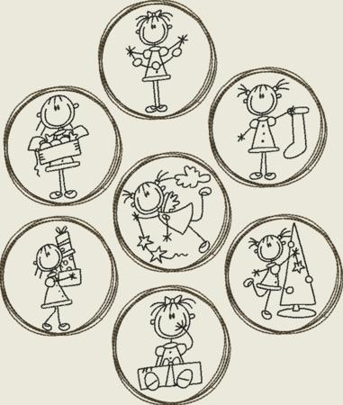 Stickdatei Strichmannchen Weihnachten Doodle Button