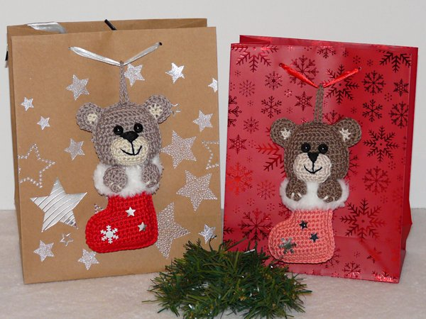 Weihnachtsdeko Häkeln Geschenkanhänger Bär