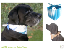 Dandy tie-on add-on reversible dog bandana sewing pattern