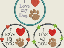 Stickdatei Hund Button 485