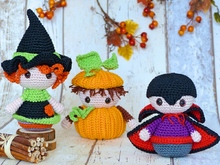 Halloween-Trio: Witch, Pumpkin & Vampire – Crochet Pattern