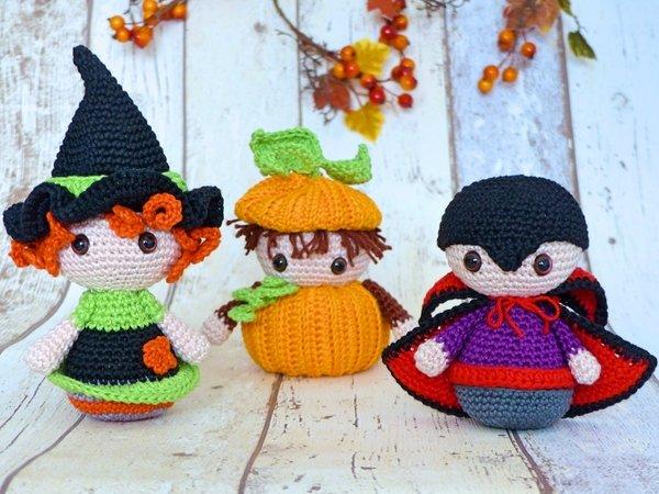 Halloween-Trio: Hexe, Kürbis & Vampir – Häkelanleitung