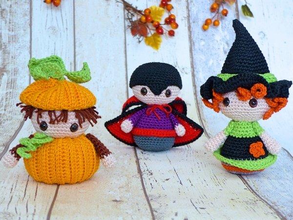 Halloween trio witch pumpkin vampire u crochet pattern
