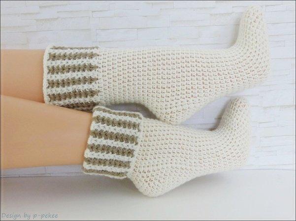 Socken häkeln / Umschlag / leicht / Gr. 26-45