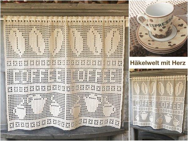 Gardine Häkeln Vorhang Kaffee Motiv