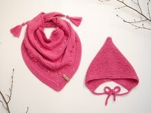 Knitting Pattern – Sweetie-Set for 0 to 5yo  – Baby Bonnet & Triangular Scarf – No.209E