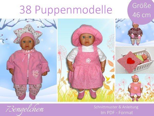 Schnittmuster 38 Modelle für Gr: 46cm Puppenkleidung