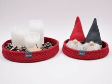 Decoration trays with round leather base - Christmas