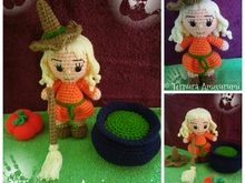 Crochet pattern of Lilly, the witch girl + Accessories PDF english by ternura amigurumi