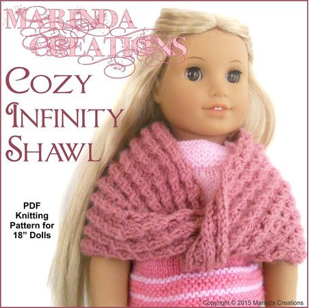 Doll clothes Pattern - Cozy Infinity Shawl