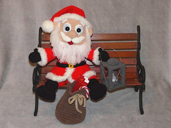 Weihnachtsmann Häkeln Fröhlich Laterne