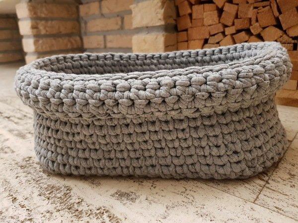 Ovales Körbchen Aus Textilgarn Im Strickstich Häkeln