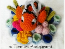 Nemo crochet pattern, clownfish with coral PDF ternura amigurumi english