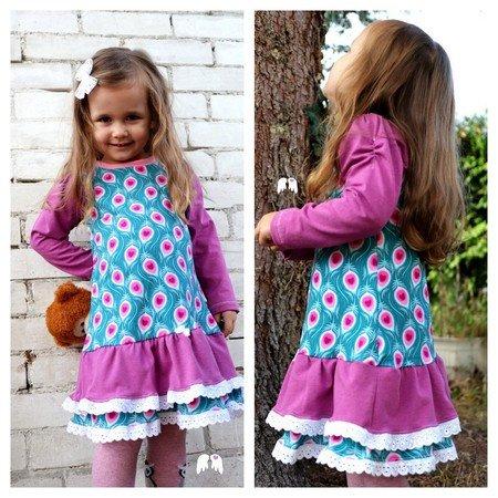 Kleid Rosie Gr. 62 - 164 Rüschenkleid mit Raffung Schnittmuster + ...