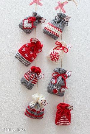 Weihnachtskalender Violetta.Adventskalender Weihnachtskalender Geschenkbeutel Häkelanleitung 2 Größen Und 8 Motive