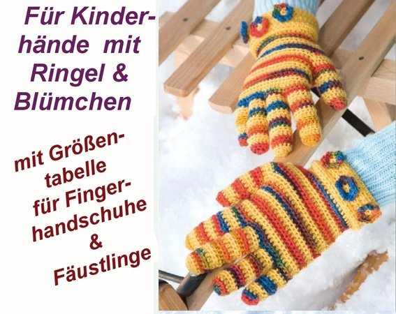 Fingerhandschuhe Für Kinder Ringel Und Blüten Häkeln