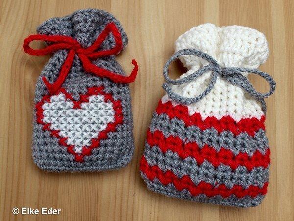 Geschenkbeutel, Beutel, Weihnachtssäckchen - Motiv Herz - Häkelanleitung
