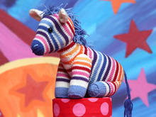 Rainbow Zebra NORA knitting pattern