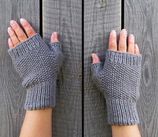 Fingerless Mittens Knitting Pattern Three Sizes Small Medium Large
