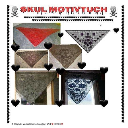 Motivtuch Häkeln Totenkopf Motiv Skull