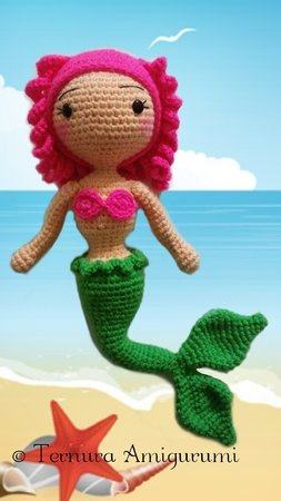 Crochet pattern Floppy the mermaid PDF ternura amigurumi english