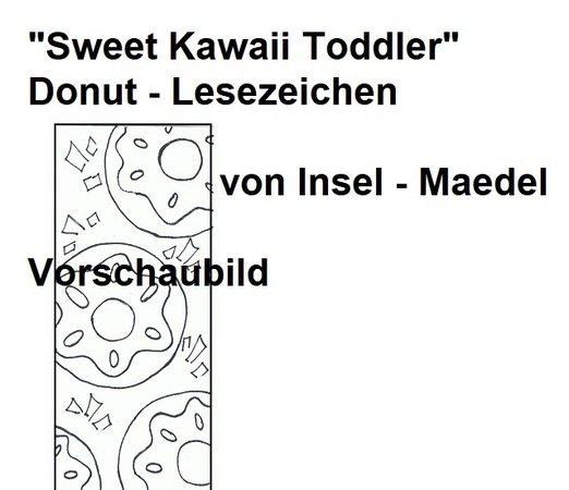 Ausmalbild Sweet Kawaii Toddler Donut Lesezeichen
