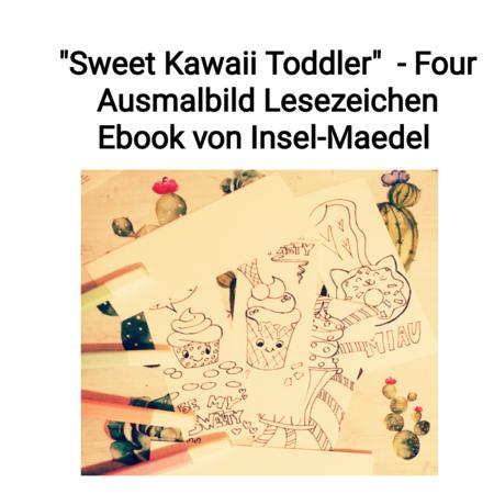 Lesezeichen Ausmalbilder Reihe Sweet Kawaii Toddler