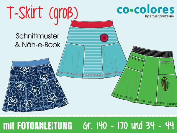 T-Skirt Jerseyrock • Gr 140–170 & 34–44 • Näh-E-Book, Schnittmuster •