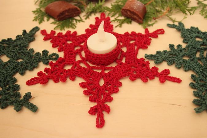 Teelichthalter Häkeln Schneeflocke Häkeln