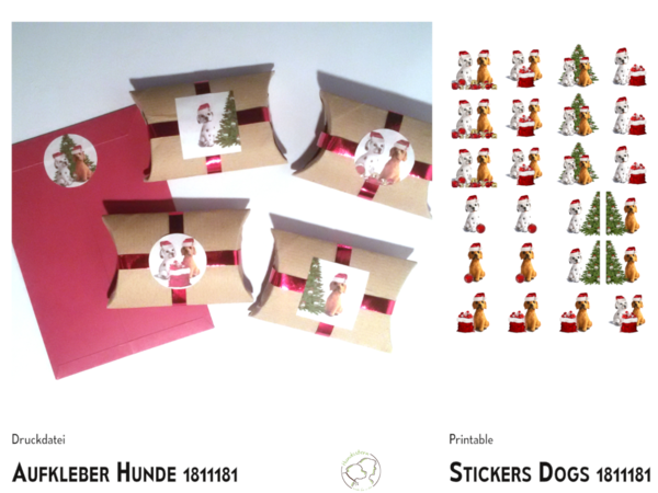Deco stickers Christmas dogs template+instructions