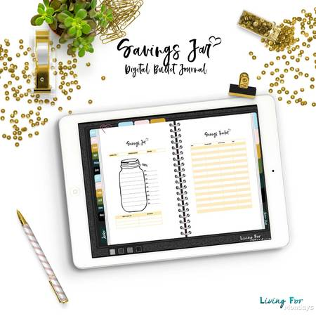 Bullet Journal Savings Jar for your Digital Planner (GoodNotes)