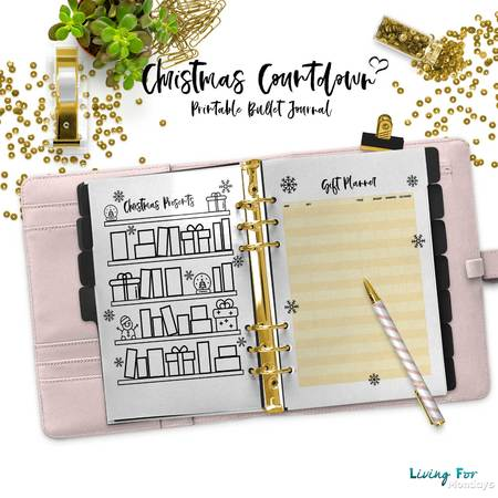 Bullet Journal Christmas Countdown Printables - A5 - A4 - US Letter