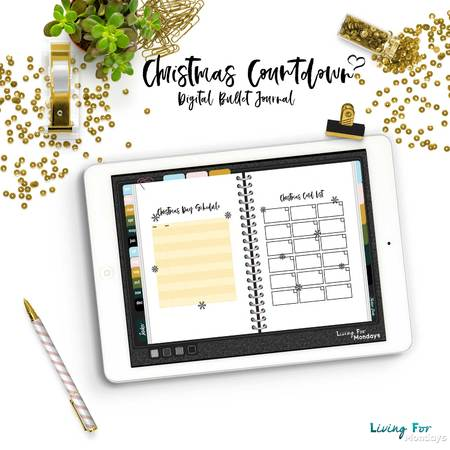 Digital Bullet Journal Christmas Countdown - A5 - A4 - US Letter