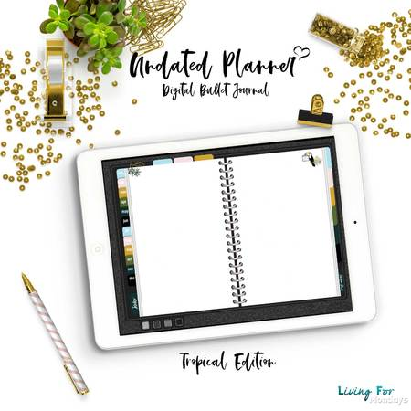 Bullet Journal Digital Planner (Undated) Tropical Edition for GoodNotes