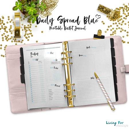 Bullet Journal Daily Spread Blue for your printable Planner