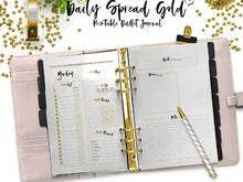 Bullet Journal Daily Spread Gold for your printable/PDF Planner