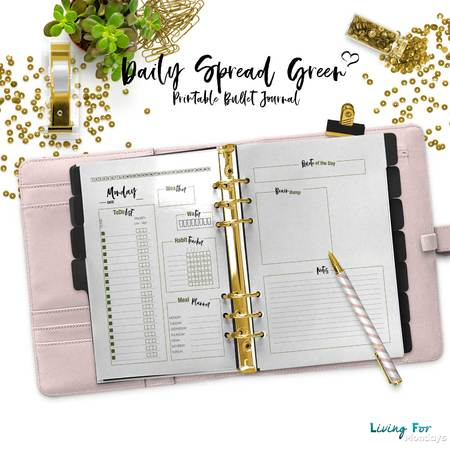Bullet Journal Daily Spread Green for your printable/PDF Planner