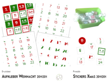 24 Stickers for advent calendars in 4 designs