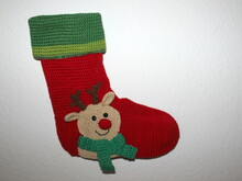 xmas stocking reindeer crochet pattern in english