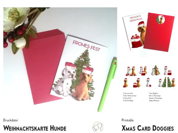 Weihnachtskarte Hunde 9 Designs Vorlageanleitung