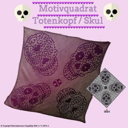 Seelenwärmerjacketischdecke Totenkopfskul Motivquadrat