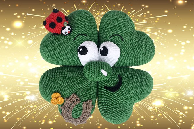 New year´s Eve Cloverleaf Pattern Amigurumi PDF Deutsch - English